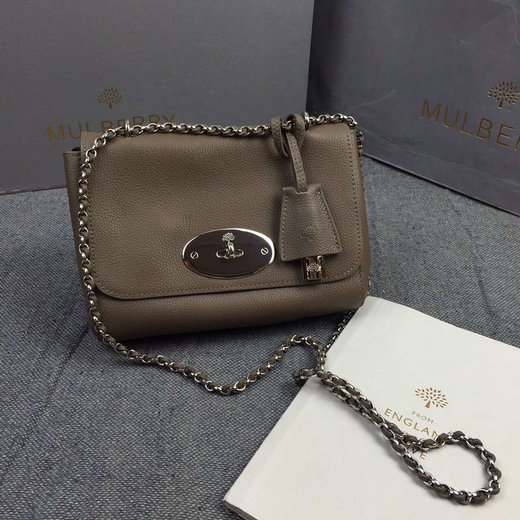 Classic Mulberry Lily Shoulder Bag in Dark Khaki Soft Grain Leather