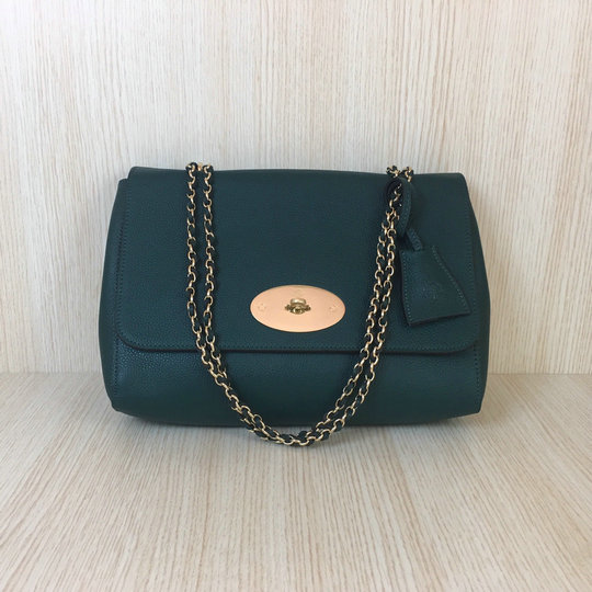 Classic Mulberry Medium Lily Bag in Green Soft Grain Leather