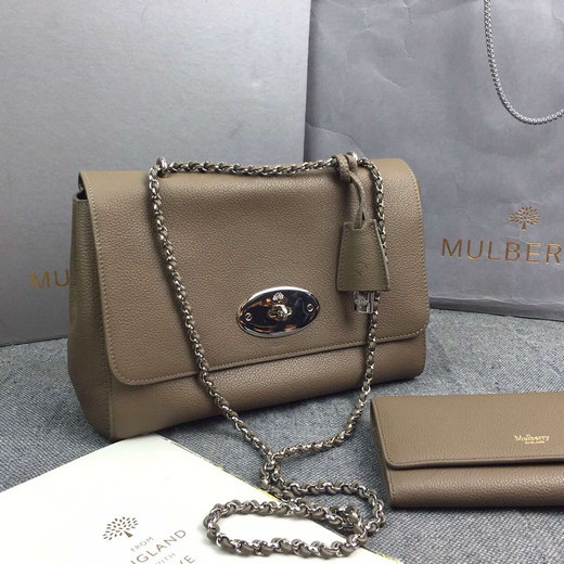 Classic Mulberry Medium Lily Bag in Dark Khaki Soft Grain Leather