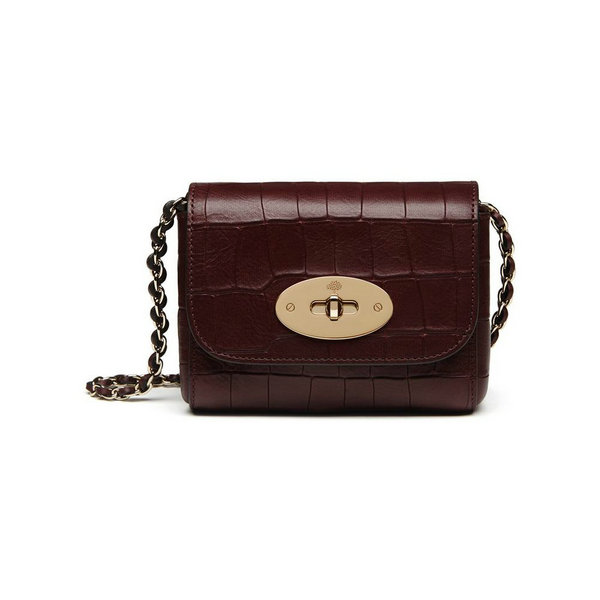 2016 Latest Mulberry Mini Lily Bag in Oxblood Croc Leather