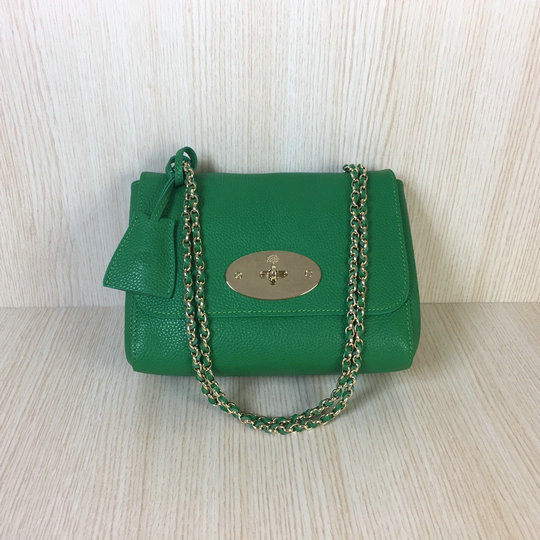 Classic Mulberry Lily Shoulder Bag in Green Soft Grain Leather