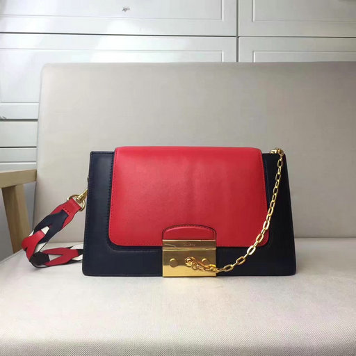 2017 Cheap Mulberry Pembroke Satchel in Red,Midnight Blue & White Leather