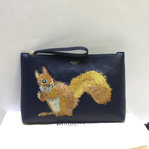 2017 Cheap Mulberry Squirrel Large Pouch Midnight Smooth Calf Leather