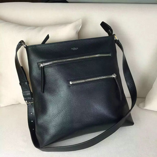 2016 Mens Mulberry Top Zip Messenger Bag in Black Leather