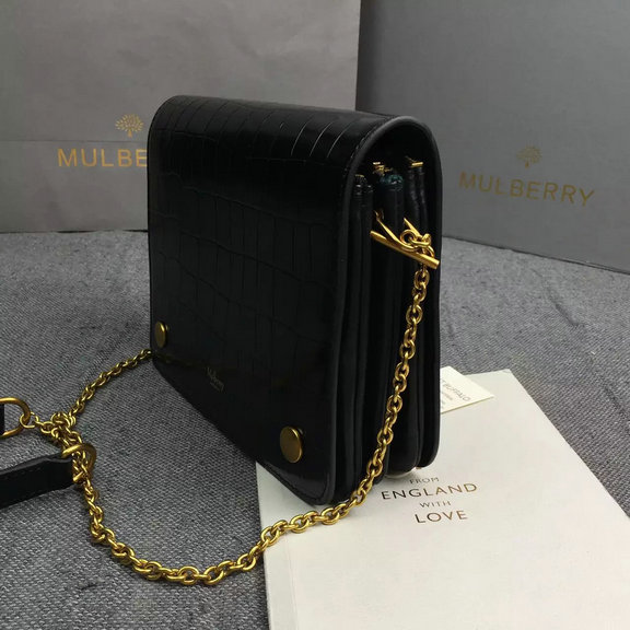 8b3dfe16746d 2016 Latest Mulberry Clifton Crossbody Bag Black Polished Embossed ...