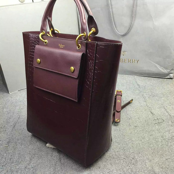 2016 Fall Winter Mulberry Maple Tote Bag Burgundy Polished Embossed ... a59e3c4cd23b0