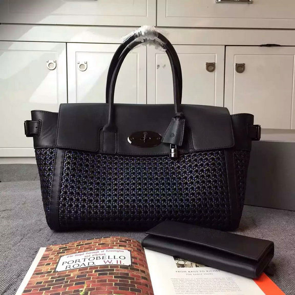 2015 Mulberry Bayswater Buckle Bag Midnight Blue & Black Woven Leather & Flat Calf
