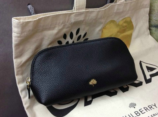 732087e0636b 2014 A W Mulberry Make Up Case Black Small Grain Leather  RL3772 ...