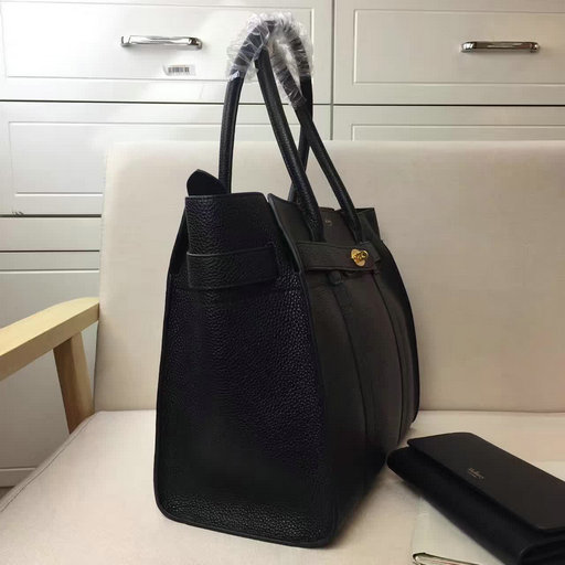 2017 S S Mulberry Zipped Bayswater Tote in Black Small Classic Grain ... 809de064ded3c