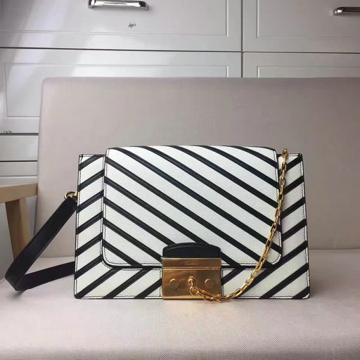 2017 Cheap Mulberry Pembroke Satchel in Black & White Smooth Calf & Shiny Lamb