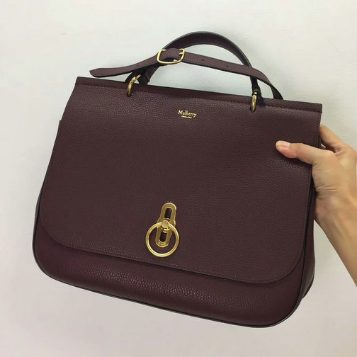 2017 Cheap Mulberry Large Amberley Satchel Oxblood Grain Leather