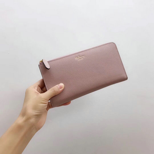 2019 Mulberry Long Part Zip Purse in Nude Grain Leather