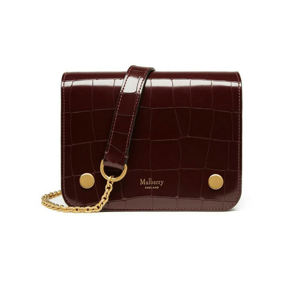 2016 Latest Mulberry Small Clifton Crossbody Bag Burgundy Polished Embossed Croc Leather