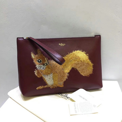 2017 Cheap Mulberry Squirrel Large Pouch Oxblood Smooth Calf Leather