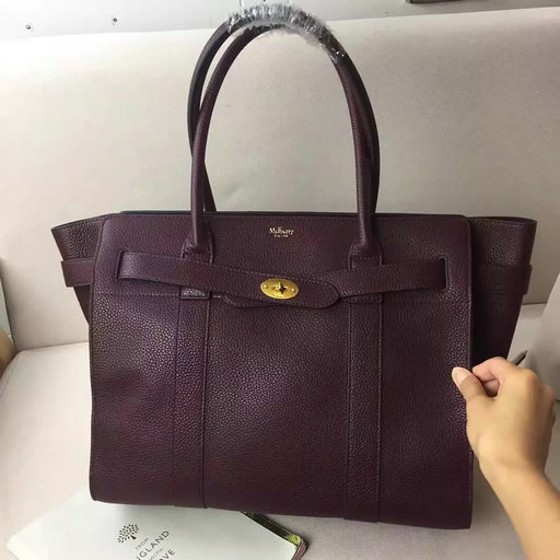 2017 S/S Mulberry Zipped Bayswater Tote in Oxblood Small Classic Grain