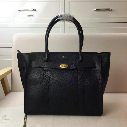 2017 S/S Mulberry Zipped Bayswater Tote in Black Small Classic Grain