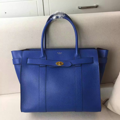2017 S/S Mulberry Zipped Bayswater Tote in Porcelain Blue Small Classic Grain