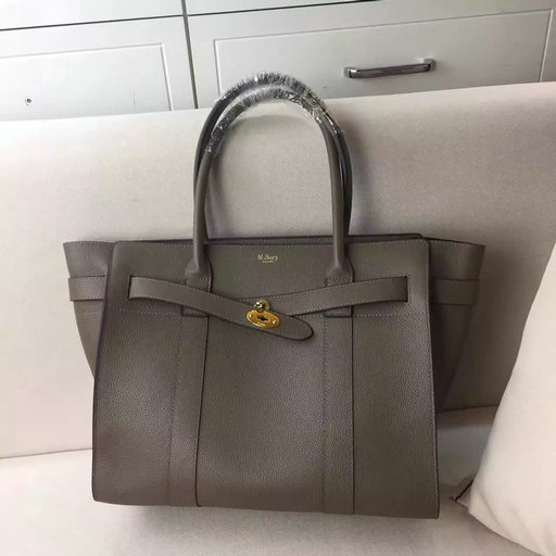 2017 S/S Mulberry Zipped Bayswater Tote in Clay Small Classic Grain