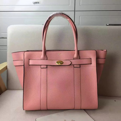 2017 S/S Mulberry Zipped Bayswater Tote in Macaroon Pink Small Classic Grain