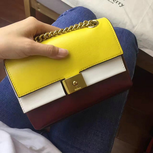 2017 Cheap Mulberry Mini Cheyne Sunflower,Chalk & Oxblood Smooth Calf