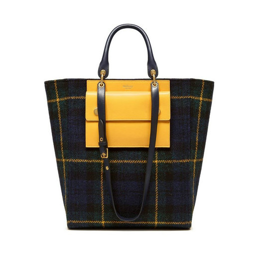 2016 Latest Mulberry Maple Tote Navy Tartan Wool