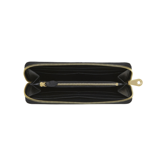 2014 Mulberry Tree Zip Around Wallet Black Glossy Goat
