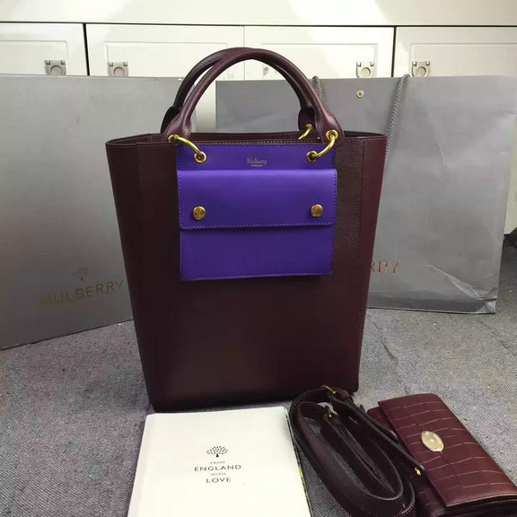 2016 Fall/Winter Mulberry Maple Tote Bag Burgundy Printed Goat