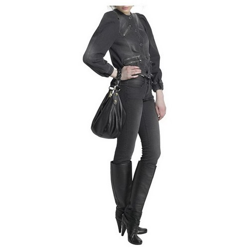 90f22fd0ff56 This stylish hobo is crafted of luxuriously grained calfskin leather in  black. The bag.