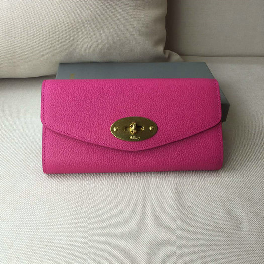 2016 Latest Mulberry Postman's Lock Long Wallet Hot Pink Grain Leather